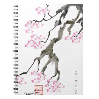 sakura with pink goldfish, tony fernandes spiral notebook
