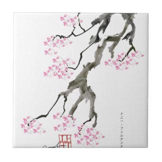 sakura with pink goldfish, tony fernandes tile