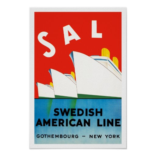 SAL ~ Swedish American Line Posters
