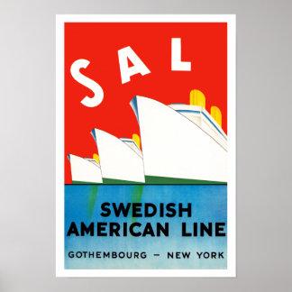 SAL ~ Swedish American Line Poster