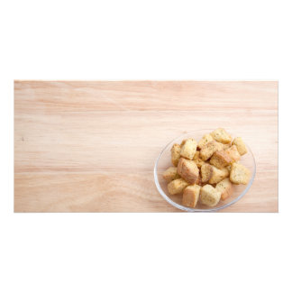 Salad Croutons on a plate Photo Cards