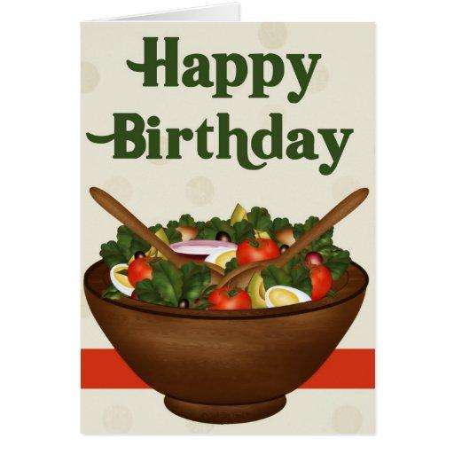 Salad Healthy Vegetarian Happy Birthday Card