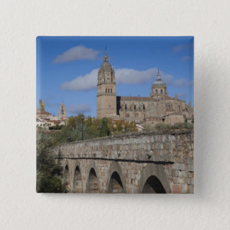 Salamanca Cathedrals, viewed from Puente Romano 15 Cm Square Badge