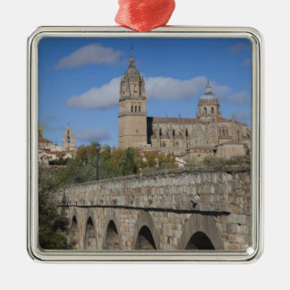 Salamanca Cathedrals, viewed from Puente Romano Silver-Colored Square Decoration