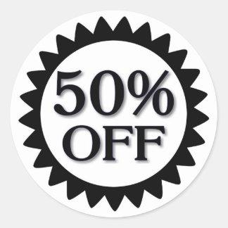 Sale 50 percent off black circle stickers
