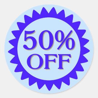 Sale 50 percent off blues circle stickers