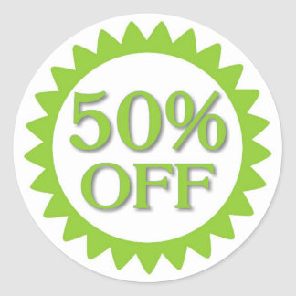 Sale 50 percent off green circle stickers
