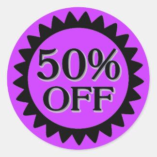 Sale 50 percent off purple black circle stickers
