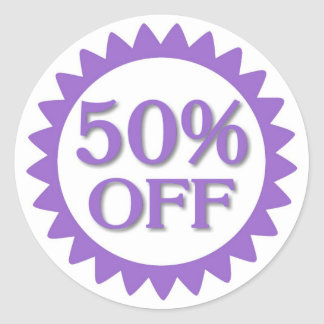 Sale 50 percent off purple circle stickers