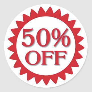 Sale 50 percent off red circle stickers