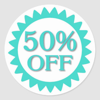 Sale 50 percent off teal blue circle stickers