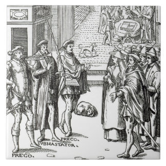 Sale by Town Crier, after a woodcut in 'Praxis Rer Tile