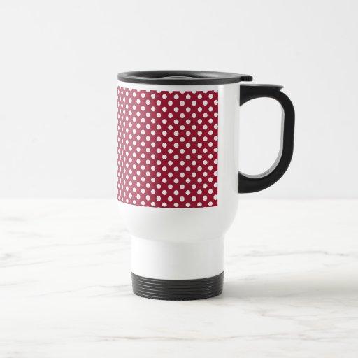 SALE - Deep Red Polka Dot Retro Travel Mug