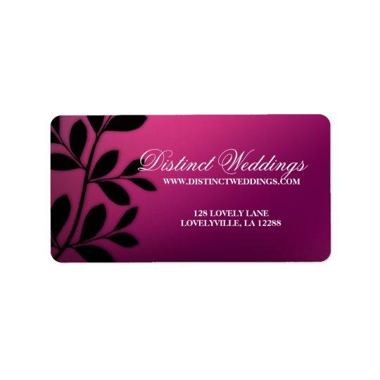 SALE! Elegant Wedding Label Leaves Pink Purple
