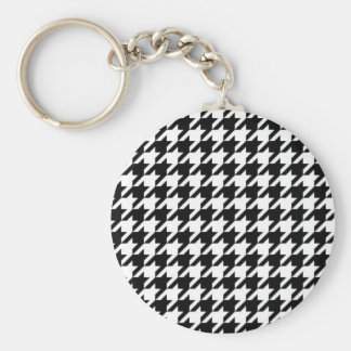 SALE - HOUNDSTOOTH BASIC ROUND BUTTON KEY RING