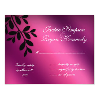 SALE! RSVP Reply Card Leaves Pink Purple Black 11 Cm X 14 Cm Invitation Card