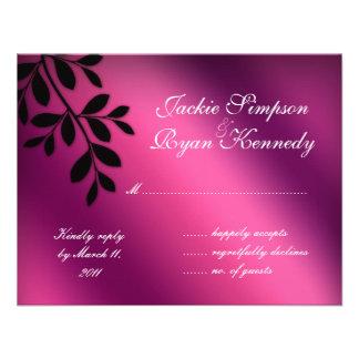 SALE RSVP Reply Card Leaves Pink Purple Black Custom Invitations