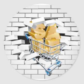 Sale Shopping Cart Smashing Wall Round Sticker