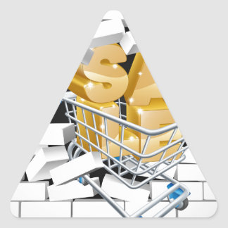 Sale Shopping Cart Smashing Wall Triangle Sticker