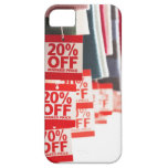 Sale tags attached to hanging clothes, close-up iPhone 5 case