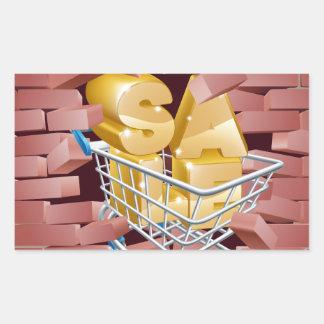 Sale Trolley Breaking Wall Rectangular Sticker