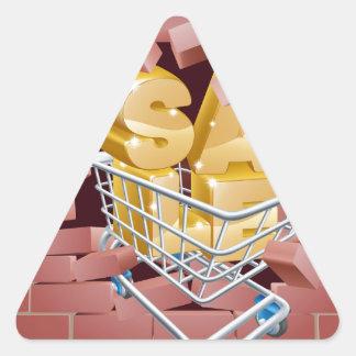 Sale Trolley Breaking Wall Triangle Sticker