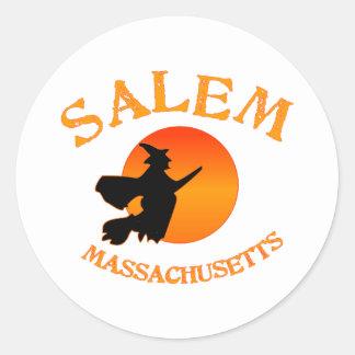 Salem Massachusetts Witch Round Sticker