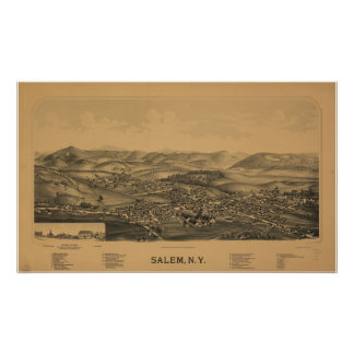 Salem New York 1889 Antique Panoramic Map Poster