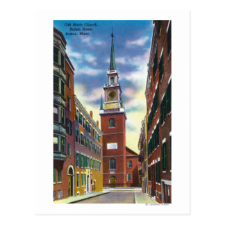Salem Street View of Old North Church Bldg Postcard