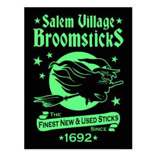 Salem Witch on Broomstick Halloween Witchcraft Postcard