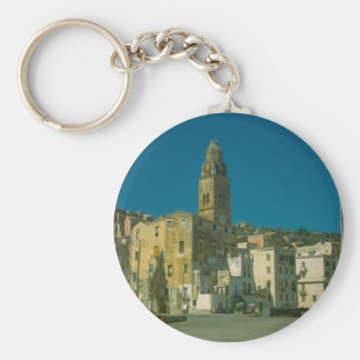 Salerno, Church and town Basic Round Button Key Ring