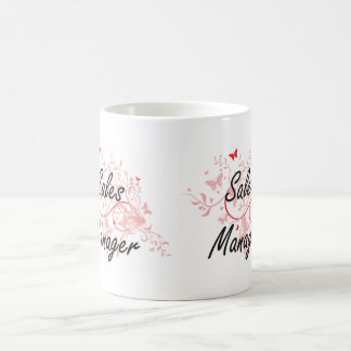 Sales Manager Artistic Job Design with Butterflies Coffee Mug
