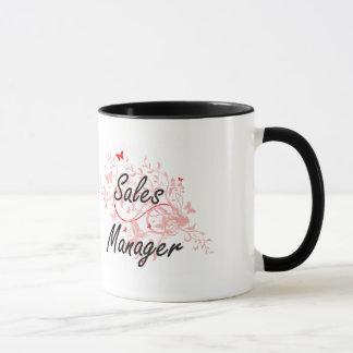 Sales Manager Artistic Job Design with Butterflies Mug