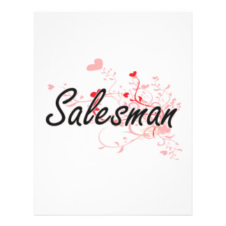 Salesman Artistic Job Design with Hearts 21.5 Cm X 28 Cm Flyer