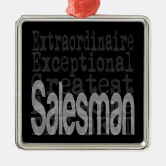 Salesman Extraordinaire Silver-Colored Square Decoration