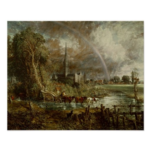 Salisbury Cathedral From the Meadows, 1831 Posters
