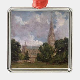 Salisbury Cathedral from the south west Silver-Colored Square Decoration