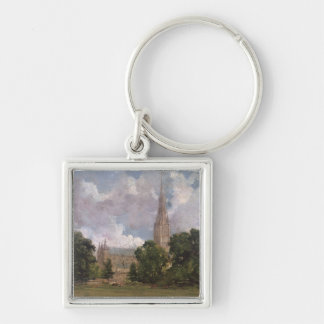 Salisbury Cathedral from the south west Silver-Colored Square Key Ring