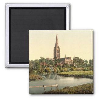 Salisbury Cathedral I, Wiltshire, England Square Magnet