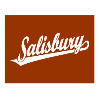 Salisbury script logo in white postcard