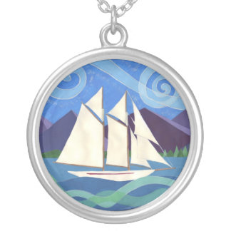 Salish Sea Schooner Round Pendant Necklace