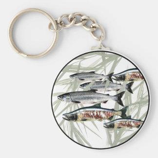 Salmon - Alaska Basic Round Button Key Ring