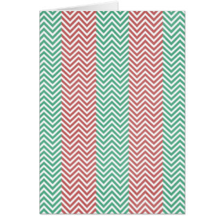 Salmon and Green Chevron Striped Zig Zags Greeting Card