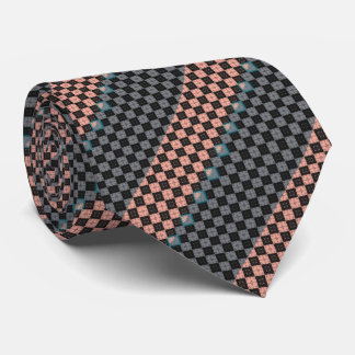 Salmon and Grey Diagonal Mini Argyle Diamond Tile Tie