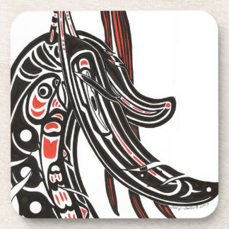 salmon and raven drink coaster