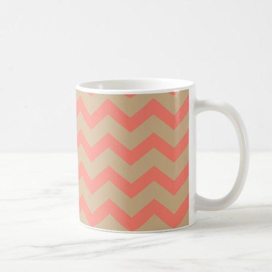 Salmon and Tan Chevron Coffee Mug