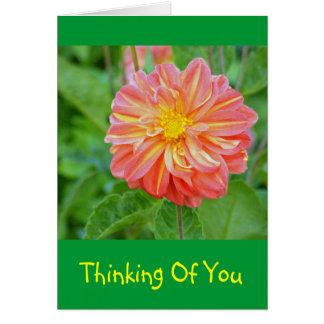 SALMON AND YELLOW COLORED DAHLIA NOTE CARD