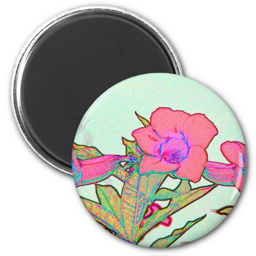 salmon arty flowers sketch floral image fridge magnet