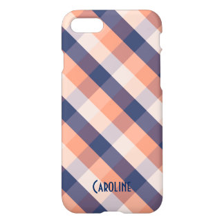 Salmon Blue Beige Gingham Pattern Custom Name iPhone 8/7 Case