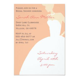 Salmon Bride Silhouette Bridal Shower Invitation